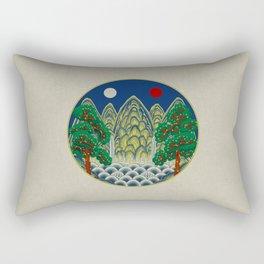 Sun, Moon and 5 peaks: King's painting Type A (Minhwa-Korean traditional/folk art) Rectangular Pillow