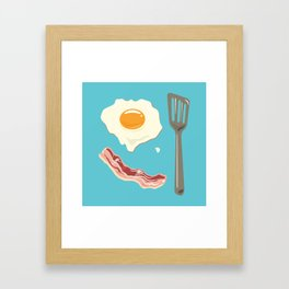 bacon & eggs, blue Framed Art Print
