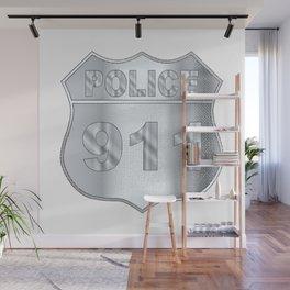 Police Spoof Badge Wall Mural