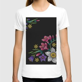 Embroidered Flowers on Black Corner 02 T-shirt