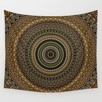 study Wall Tapestries featuring Fractal Kaleido Study 001 in CMR by Charma Rose