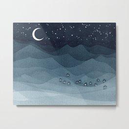 Moon over the mountains, landscape, indigo night Metal Print