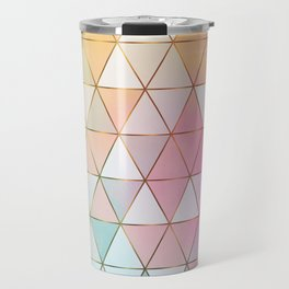 Pastel Triangles with Golden Lines Travel Mug