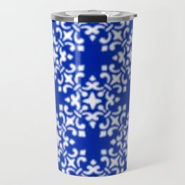 Vintage Brocade Damask Sapphire Blue Travel Mug
