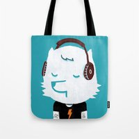 acdc Tote Bags featuring Metal Rock Dog by Picomodi