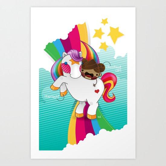 Chestnut Girl And Starlight Art Print