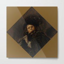 "Frans Hals ""A young man playing a flute"" Metal Print"
