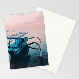 Indonesian boat at dawn Stationery Cards