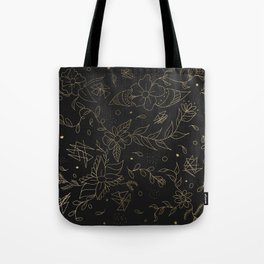 Gold foil floral pattern and geometric triangles on grey Tote Bag