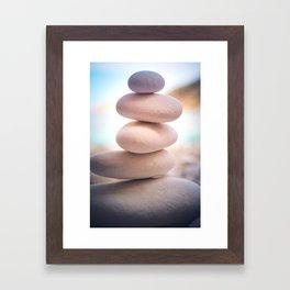 Zen beach rocks print, balancing pebbles, Yoga room art, Beach decor, wall art Framed Art Print