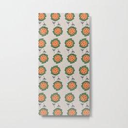 Little Sunflower Grey Metal Print