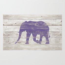 Violet Elephant on White Wood A222c Rug
