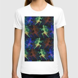 Watercolor women runner pattern on dark background T-shirt