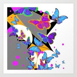 MODERN BUTTERFLY WHITE & GREY ABSTRACT ART Art Print