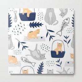 Botanical Cats Metal Print