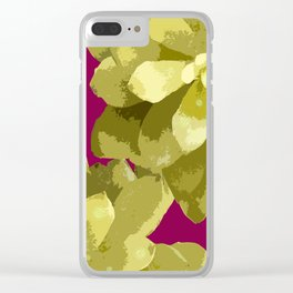 Succulent Plants On A Burgundy Background #decor #buyart #society6 Clear iPhone Case