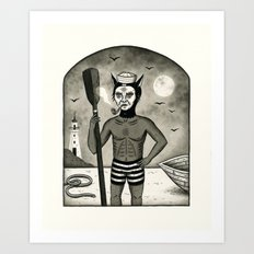 Feline Sailor with Pipe Art Print