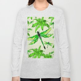 TROPICAL FERNS & EMERALD GREEN  SWAMP DRAGONFLIES Long Sleeve T-shirt