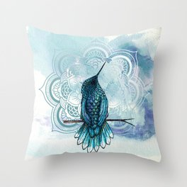 Aquarela hummingbird Throw Pillow