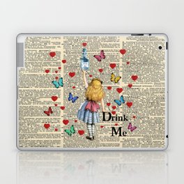 Drink Me - Vintage Dictionary Page - Alice In Wonderland Laptop & iPad Skin