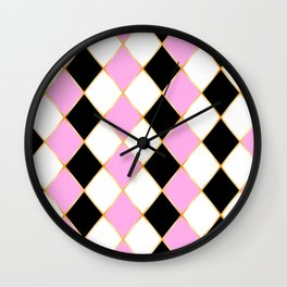 Rhombus in white, pink, black colors, with golden frame. Wall Clock