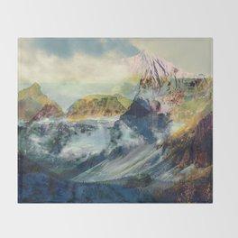 Mountain landscape digital art Throw Blanket