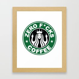 Starbucks Logo Parody - Zero Fucks - Middle Finger - Flipping Off - Funny - Humor - Cafe - Coffee Framed Art Print