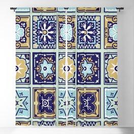 Talavera Mexican Tile – Mint & Navy Palette Blackout Curtain