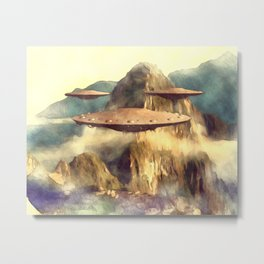 UFOs Over Machu Picchu Metal Print