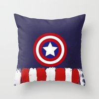 "steve rogers Throw Pillows featuring Captain ""Steve Rogers"" America by Some_Designs"