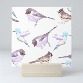 American bushtits, hummingbirds and tufted titmouse watercolor Mini Art Print