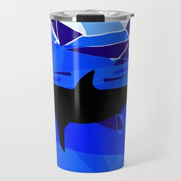 Shark art Geometric art Blue sea ocean art Triangles art Travel Mug