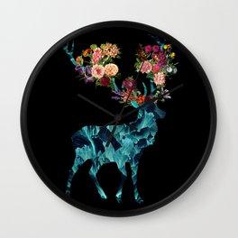 Sprint Itself Deer Floral Dark Wall Clock