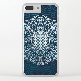 Flower Of Life (Silver Lining) Clear iPhone Case
