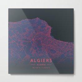 Algiers, Algeria - Neon Metal Print