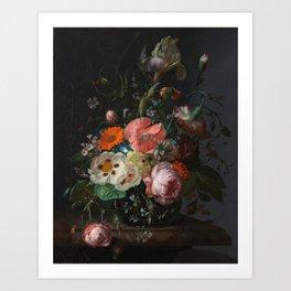 Still Life with Flowers on a Marble Tabletop Rachel Ruysch, 1716 Art Print