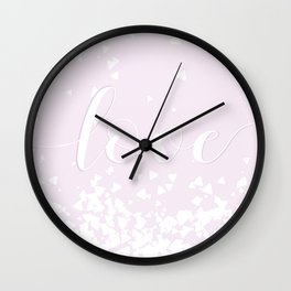 Delicate Love Rose Pink Glitter Design Wall Clock