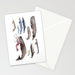 Deep sea whales Stationery Cards