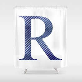 House Pride - R - Striped Watercolour (Silver) Shower Curtain