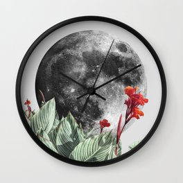 Full Moon and Tropical Leaves Quote   Make it happen   Night Sky Wall Clock