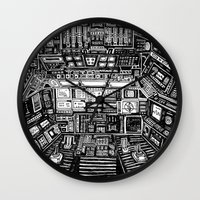 cabin Wall Clocks featuring Lost cabin 666 by Marcelo Romero