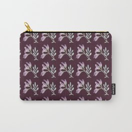 Small watercolor pink flowers on a purple seamless background Carry-All Pouch