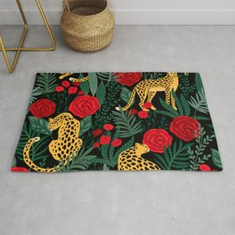 Brown Leopards Jungle leaves and red roses pattern Rug