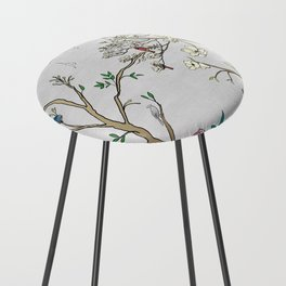 Chinoiserie Panels 1-2 Silver Gray Raw Silk - Casart Scenoiserie Collection Counter Stool