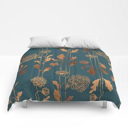 Art Deco Copper Flowers Comforters