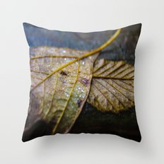 Water on a fall leaf  Throw Pillow