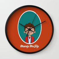 marty mcfly Wall Clocks featuring Marty McFly by Juliana Motzko