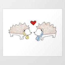 Hedgehogs in Love Art Print