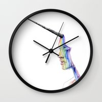unicorn Wall Clocks featuring unicorn girl by agnes-cecile
