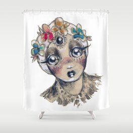 My Dear in the Headlights Shower Curtain